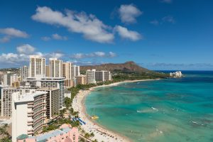 Scenic view of Honolulu city, Diamond Head and Waikiki Beach in summer day; Hawaii, USA